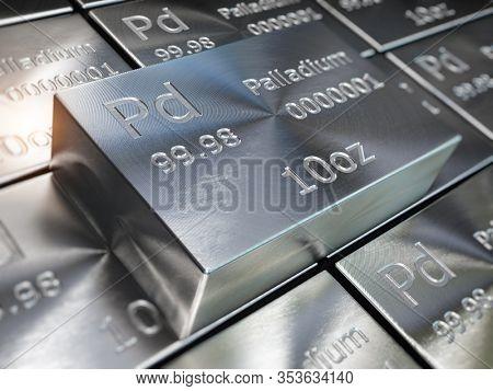 Palladium bars or ingots background. Precious metals. 3d illustration