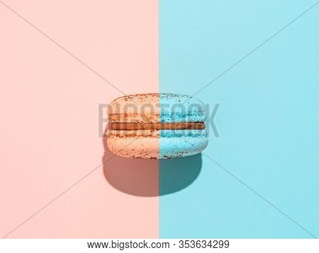 Creative Layout With Macaron. Trendy Light. Two Colors Macaron Or Macaroon On Duotone Coral Pink And