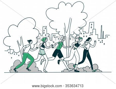 Athletes Running Marathon. Group Of Active People Jogging In Park Flat Vector Illustration. Activity