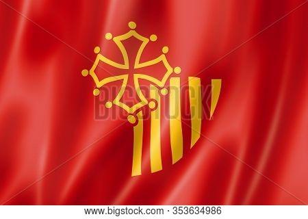 Languedoc-roussillon Region Flag, France Waving Banner Collection. 3d Illustration