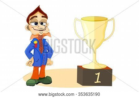 Good Employee With Cup Reward, Isolated On White Background. Excellent Work Award. Golden Trophy Cup