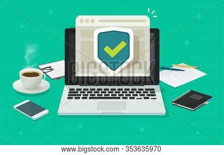 Computer Laptop Online Protection Shield On Internet Browser Web Site Or Pc With Secure Connection W