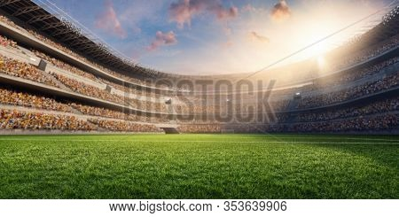 American Football Stadium. Soccer Field And Soccer Stadium