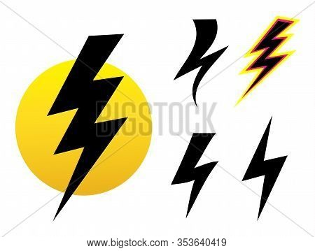 Vector Set Icons Black Lightning Bolt. Collection Of Thunder Icons