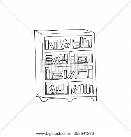 Vector Illustration Of 4- Tier Wooden Bookcase With Many Book On The Shelves. Hand Drawn Bookcase. B