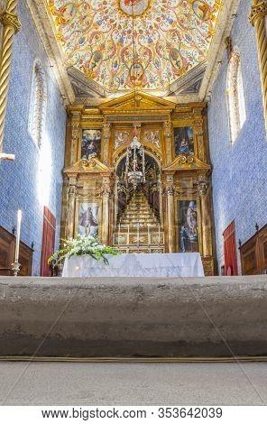 Coimbra, Portugal - Sept 6th 2019: Altar Of University Chapel Or Capela De Sao Miguel Chapel. Touris