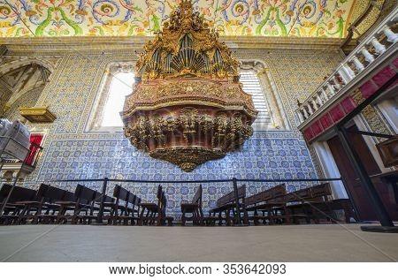 Coimbra, Portugal - Sept 6th 2019: Organ Of University Chapel Or Capela De Sao Miguel Chapel. Touris