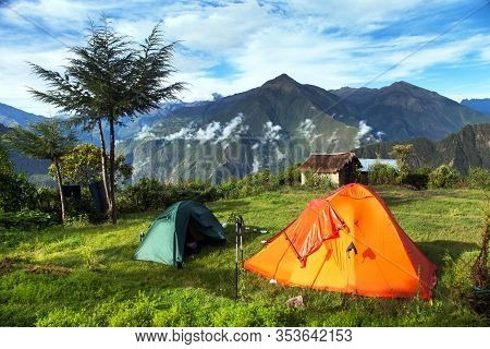 Camp Site With Two Tents, View From Choquequirao Trekking Trail, Cuzco Area, Machu Picchu Area, Peru