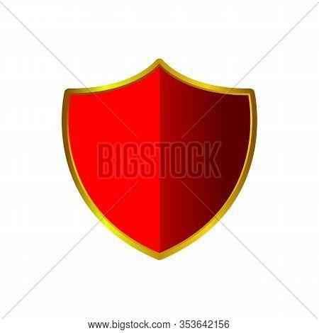 Gold And Red Shield Shape Icon. Logo Emblem Metallic Sign Isolated On White Background. Shape Shield