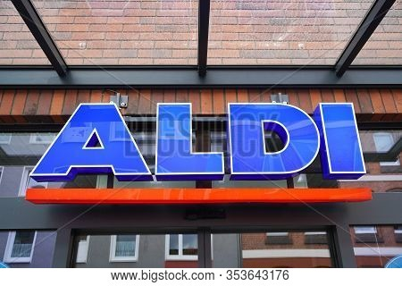 Hannover, Germany - March 1, 2020: Aldi Nord Logo Sign At Local Branch Of German Discount Supermarke