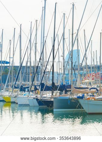 Yachts At Marina In Famous Port Vell. Barcelona, Spain