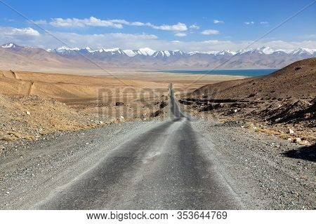 Pamir Highway Or Pamirskij Trakt And Karakul Lake In Tajikistan. Landscape Around Pamir Highway M41