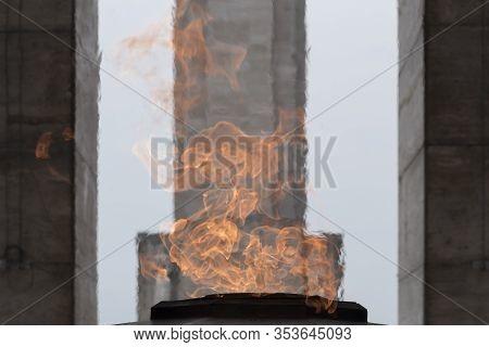 Rosario, Santa Fe / Argentina; Jan 4, 2017: Tower Of The National Flag Memorial Seen Through The Fir