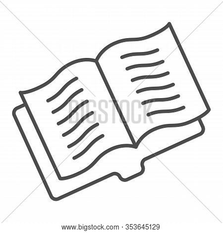 Opened Educational Notebook Thin Line Icon. Exercise Book Or Magazine. Literature Subject Vector Des