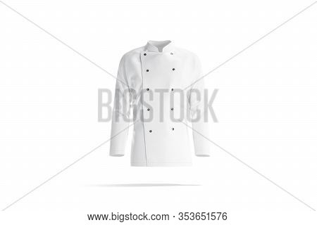 Blank White Chef Jacket With Buttons Mockup, Front View, 3d Rendering. Empty Restaurant Or Hotel Chi