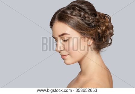 Portrait Of A Beautiful Happy Woman With Beautiful Fresh Make-up And With Clean Skin, With A Wedding