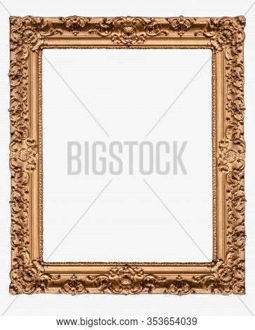 Classical Frame Wooden Golden Border On White Background Isolated Vintage Artistic Gallery Empty