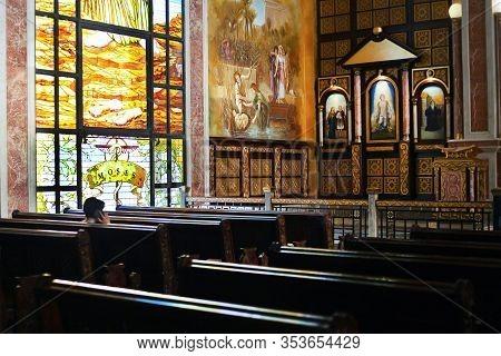 Sharm El Sheikh, Egypt - Detsember 26, 2019: Coptic Orthodox All Saints Church Interior And Windows