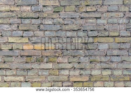 Aged Dirty Brick Wall. Background Of Old Brickwall. Pastel Colors Wall Of Bricks. Horizontal Orienta