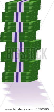 vector illustration bundle of green bank notes poster