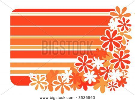 Vector Striped Background With Color Flower