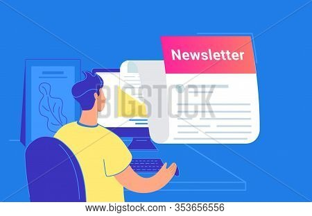 Newsletter Monthly Subscription Flat Vector Illustration Of Young Man Sitting With Pc And Checking E