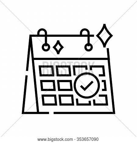 Schedule Release Line Icon, Concept Sign, Outline Vector Illustration, Linear Symbol.