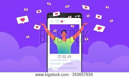 Social Media Likes And Hearts Flying Down In Clouds. Flat Vector Concept Illustration Of Happy Man S
