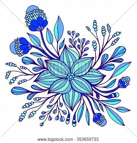 Cyan And Dark Blue Fantasy Flower, Framed By Leaves And Buds. Decorative Florets Isolated On White B