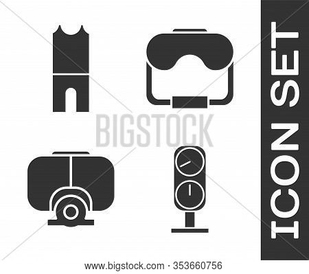 Set Gauge Scale, Wetsuit For Scuba Diving, Diving Mask And Diving Mask Icon. Vector