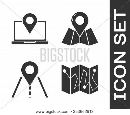 Set Folded Map With Location Marker, Laptop With Location Marker, Road Traffic Sign And Folded Map W