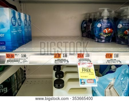 Wantage, Nj / Usa - March 2, 2020:  Purell Hand Sanitizer Sold Out Completely On Store Shelf As A Re
