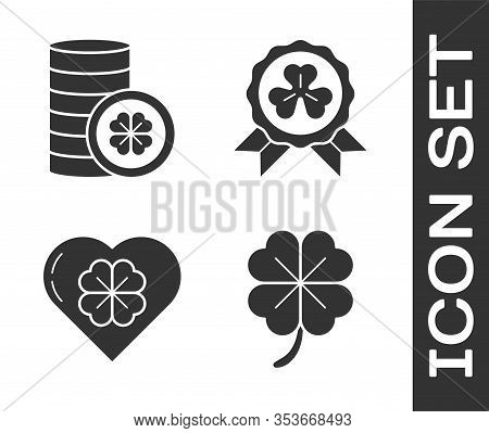 Set Four Leaf Clover, Gold Coin With Four Leaf Clover, Heart With Four Leaf Clover And Medal With Fo