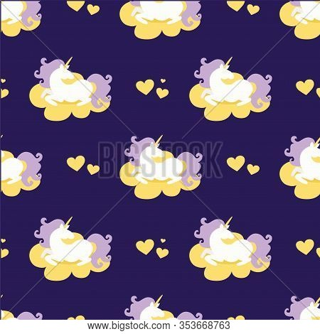 Vector Seamless Pattern Of Magic Fat White Unicorn Horses With Purple Mane Lying On The Cloud Around