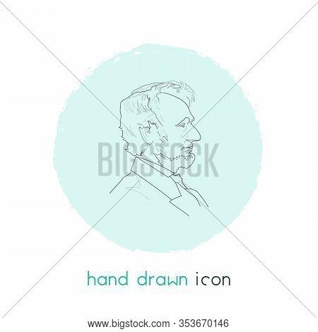 Lincoln Profile Icon Line Element. Vector Illustration Of Lincoln Profile Icon Line Isolated On Clea