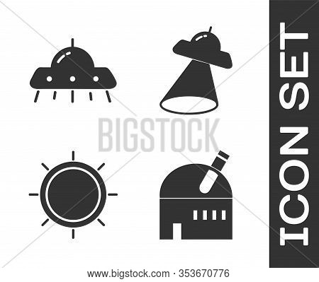 Set Astronomical Observatory, Ufo Flying Spaceship, Sun And Ufo Flying Spaceship Icon. Vector