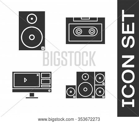 Set Stereo Speaker, Stereo Speaker, Video Recorder Or Editor Software On Monitor And Retro Audio Cas