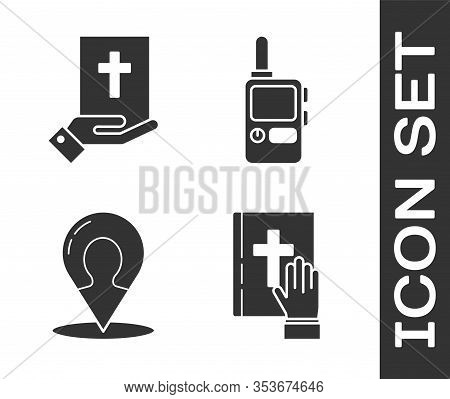 Set Oath On The Holy Bible, Oath On The Holy Bible, Map Marker With A Silhouette Of A Person And Wal