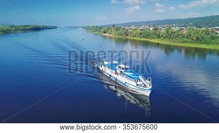 Aerial view of the boat moving along the channel of the river of Volga near the city of Samara. Russia