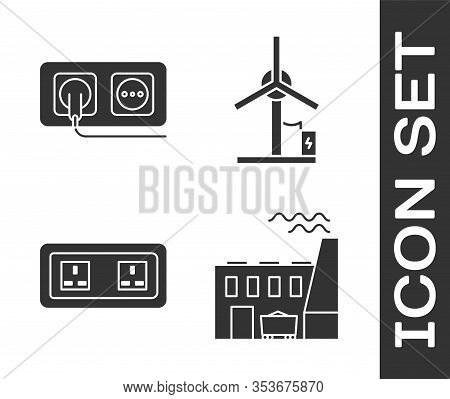 Set Coal Power Plant And Factory, Electrical Outlet, Electrical Outlet And Wind Turbine Icon. Vector