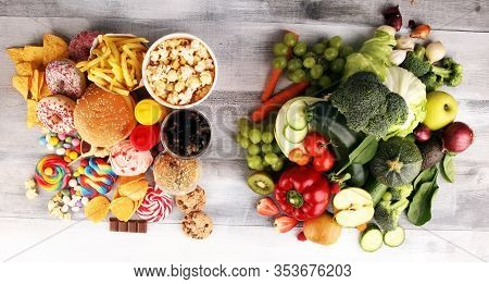 Healthy Or Unhealthy Food. Concept Photo Of Healthy And Unhealthy Food. Fruits And Vegetables Vs Don