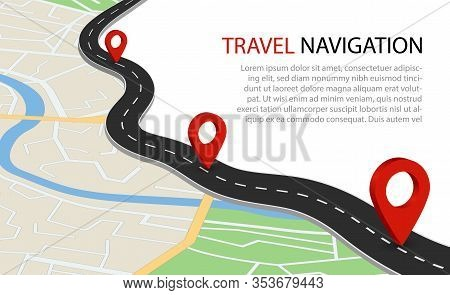Flat Map With Road. Gps Navigation With Point For Travel. Simple Information Background Of City With