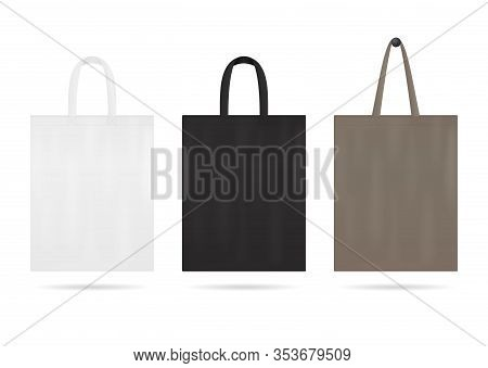 Canvas Tote Bag Mockup For Sale. Shopping Sack Bags With White, Black Color. Blank Fabric Eco Bag Wi