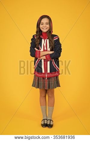 English Lesson. Union Jack Flag. Small Girl Uniform. Kid With English Flag On Jacket. Go Study To En