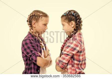 Easy Hairdo For Long Length Hair. Small Childred With Plait Hairdo. Little Girls Wear Long Braid Hai