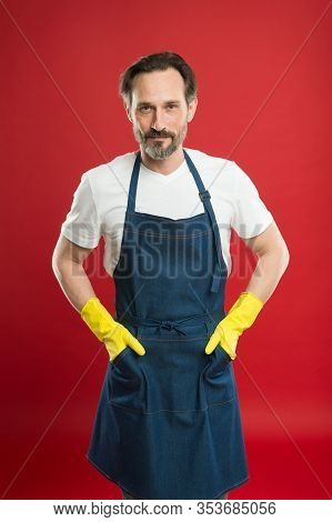 Leave Dirty Work To Us. Professional Cleaner Red Background. Mature Man Ready For Cleaning Work. Hou