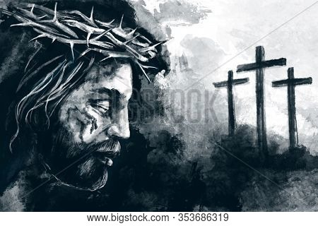 Easter. Jesus Christ, Son Of God, Crucifixion On The Cross At Calvary, Friday. Christian Symbol Of F