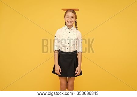 Hope For Best. School Girl Studying Textbook. Kid School Uniform Hold Book. Life Balance Positivity.