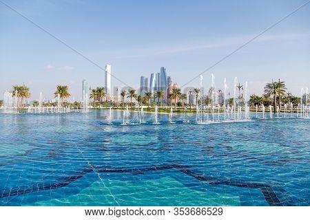 Abu Dhabi, Uae - December 30, 2019: Abu Dhabi Cityscape, View From Presidential Palace Qasr Al Watan