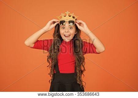 Wow Im Surprised. Surprised Kid Wear Prop Crown And Glasses. Little Child Look Surprised Orange Back